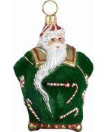 Mini Candy Cane Santa with Green Flocked Coat
