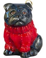 Pug Black in Red Cable Knit Sweater