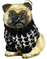 Pug Fawn in Hounds Tooth Sweater