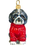 Shih Tzu Black & White in Red Cable Knit Sweater