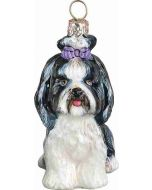 Shih Tzu Sitting with Top Knot Black and White