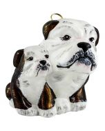 Bulldog Mother wIth Puppy Brown & White