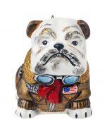 Bulldog in Vintage Bomber Jacket