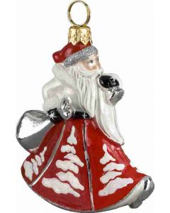 Mini Trumpeting Santa - Red with White Trees