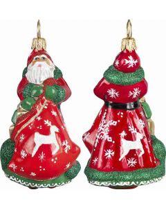 Mini Traditional Santa with Reindeer & Snowflakes