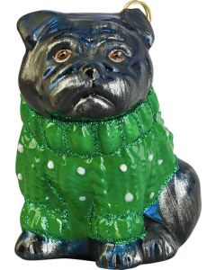 Pug Black in Green Cable Knit Sweater - LAST ONE!