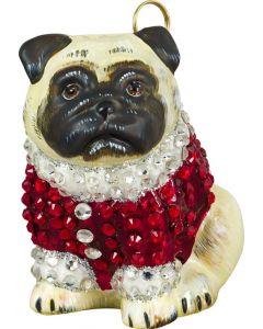 Pug Fawn in Crystal Encrusted Coat