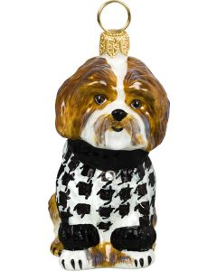 Shih Tzu Brown & White in Hounds Tooth Sweater