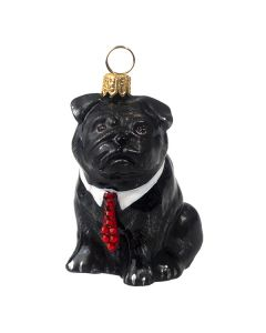 Pug Black with Red Crystal Tie - Now on Clearance!