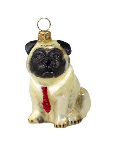 Pug Fawn with Red Crystal Tie - Now on Clearance!
