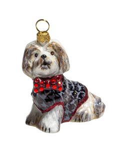 Shih Tzu Brown & White in Houndstooth Sweater - Now on Clearance!