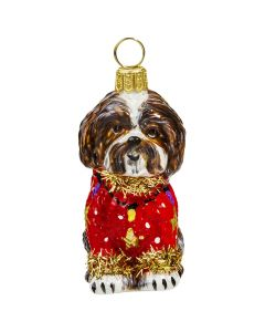 Shih Tzu Brown & White in Ugly Christmas Sweater