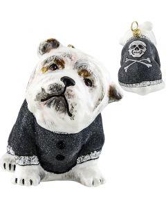 Bulldog in Gray Flocked Coat Rock N Roll Version