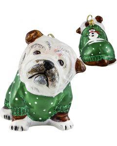 Bulldog in Green Snowy Sweater