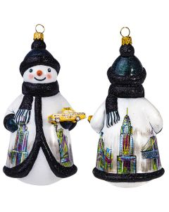 New York Snowman Holding a Yellow Taxi