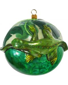 Glitterazzi 3D Jeweled 110MM Ball with Rainforest Green Iguana - Now on Clearance!