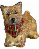 Cairn Terrier Cream with Tartan Plaid Bandana