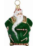 Mini Candy Cane Santa with Green Flocked Coat
