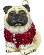Pug Fawn in Crystal Encrusted Coat