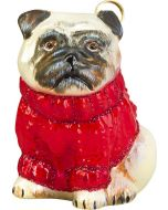 Pug Fawn in Red Cable Knit Sweater