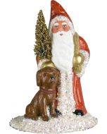 Schaller Paper Mache Santa with Chocolate Lab - Now on Clearance!