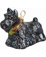 Scottish Terrier Standing with Tartan Bandana
