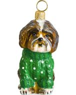 Shih Tzu Brown & White in Green Cable Knit Sweater