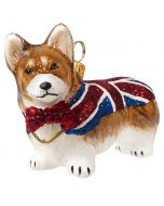 Pembroke Welsh Corgi with Union Jack Flag and Bow Tie