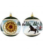 Snowy Barn with Stallion Reflector Ball