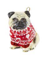 Pug Fawn in Nordic Sweater