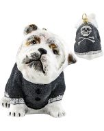 Bulldog in Gray Flocked Coat Rock N Roll Version