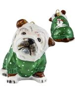 Bulldog in Green Snowy Sweater