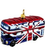 British Double Decker Bus Wrapped in Union Jack Flag