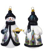 New York Snowman Holding a Yellow Taxi - NEW!