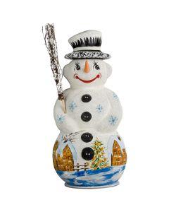 Schaller Paper Mache Snowman with Village - Now on Clearance!