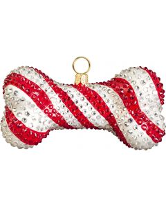 Candy Cane Crystal Encrusted Dog Bone