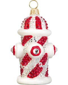 Candy Cane Crystal Encrusted Fire Hydrant
