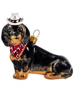 Dachshund Black in Cowboy Hat & Kerchief - NEW!