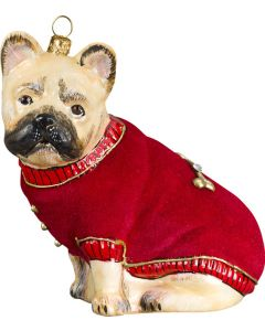 French Bulldog Fawn with Red Velvet Coat