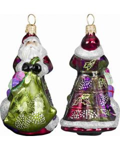 Mini Vintage Green and Purple Santa