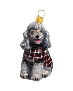 Poodle Gray in Maroon Checked Sweater - NEW!