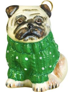 Pug Fawn in Green Cable Knit Sweater