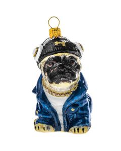 Pug Fawn in Denim Jacket & Head Phones - NEW!