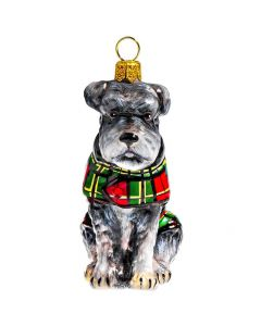 Schnauzer Gray with Floppy Ears in Tartan Plaid Coat - NEW!