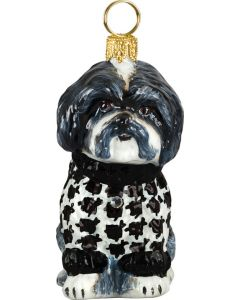 Shih Tzu Black & White in Hounds Tooth Sweater
