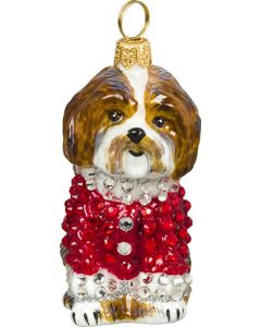 Shih Tzu Brown & White in Crystal Encrusted Coat