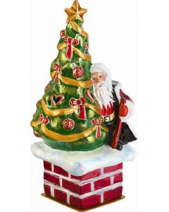 St. Nick Atop the Chimney - Traditional Version - Now on Clearance!