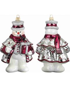 Tatra Mountain Snowman - Cranberry and Silver Version
