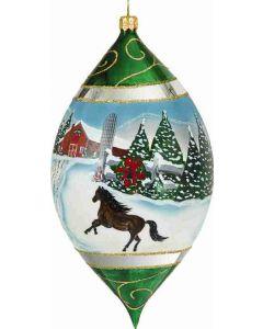 "Vintage Snowy Barn Scene with Stallion 7"" Drop"