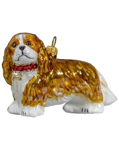 Cavalier King Charles Spaniel Blenheim with Swarovski Crystal Collar - Only 1 Available!